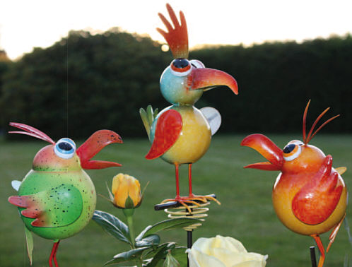 Colourful birds to stick for the garden