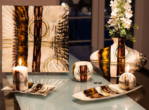 Table decoration from glass and ceramics - Hortensie