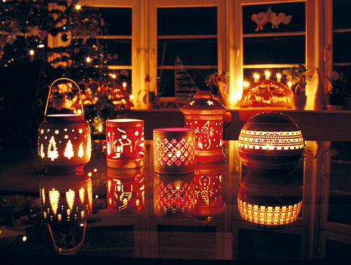 Christmas candles and tealight holders
