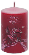 "Candle cylinder ""Winterlandschaft"" (winter landscape) red"