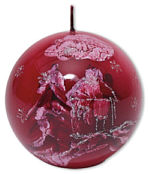"Candle bowl ""Winterlandschaft"" (winter landscape) red"