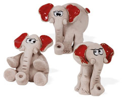 Elefant-Miniaturen 3er Mix rot