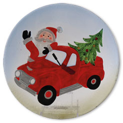 Glass plate Santa Claus in car