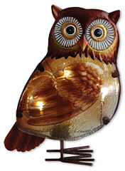 Glass owl with LED