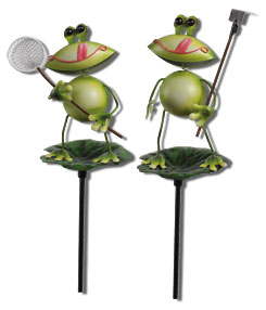 Gartenstecker Frosch aus Metall 2er Mix