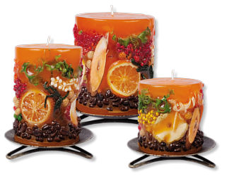 Candles with nature decorations