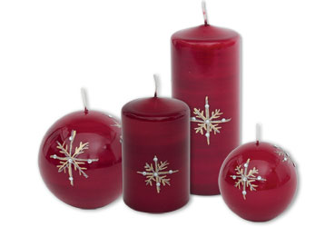 Candles with winter & christmas motifs